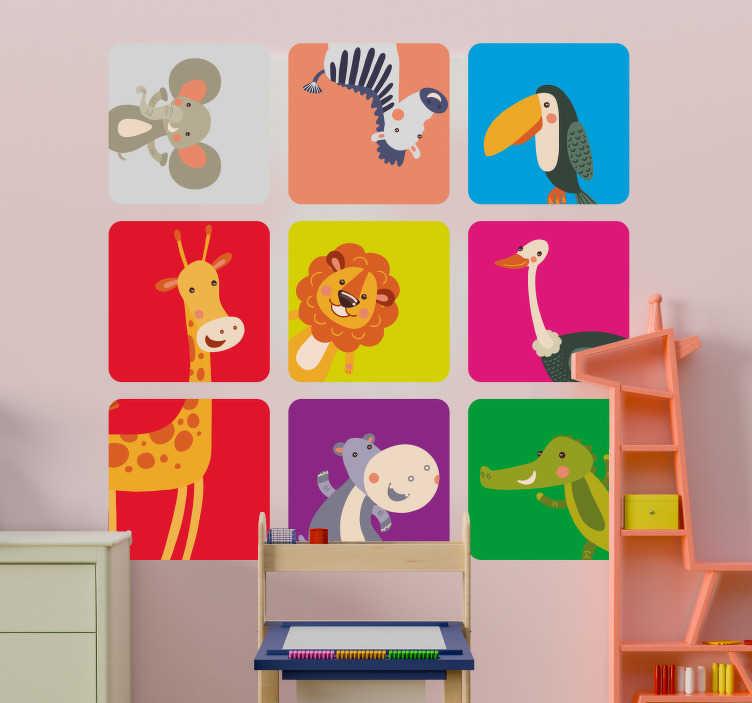 TenStickers. Sticker murale bambini animali colorati. Coloratissimo adesivo murale bambini con tanti simpatici animali disposti in 9 quadrati separati, tra cui la giraffa, zebra, coccodrillo e leone