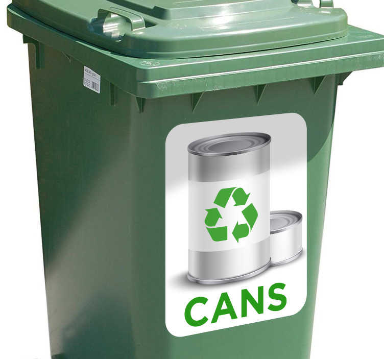 TenStickers. Nalepka za koš za recikliranje pločevinke. Nalepka koša za recikliranje deluje kot popolna nalepka zaboj. Ta okolju prijazna nalepka se pogosto kupuje, da se uporablja kot nalepka s smetnjakom na kolesih.
