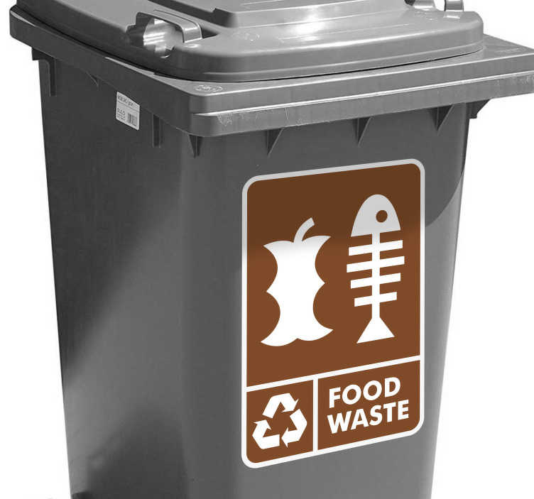 TenStickers. Food Waste Bin Adhesive Sticker. This Food Waste Bin Sticker is perfect for recycling your food waste. Our wheelie bin stickers always label and allow your bin to be identified.