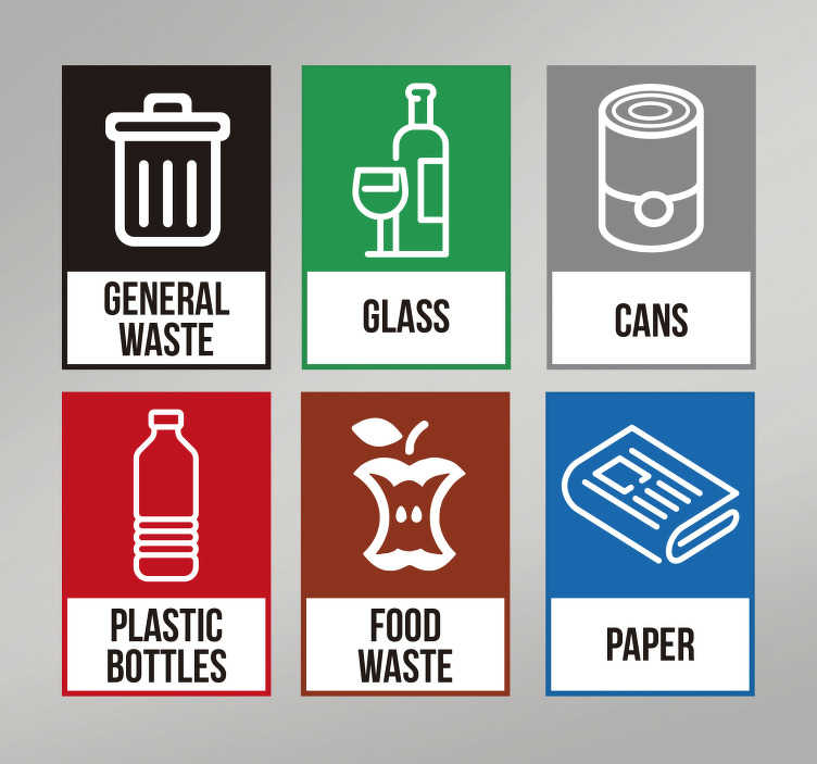 TenStickers. Recycling Generic Sticker. The recycling generic sticker is useful as a recycling bin sticker or a recycling wall sticker. It can also be used on bins that have different disposal methods of each type of waste.