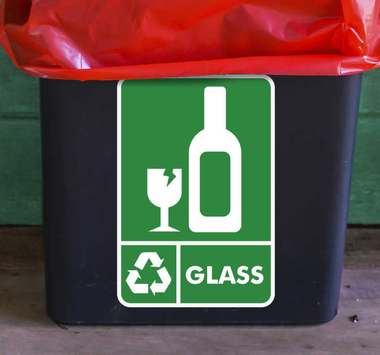 TenStickers. Recycle Glass Bin Sticker. The Recycle Glass Sticker for bins is another one of our eco-friendly stickers that encourage recycling. Our high quality stickers are easy to apply.