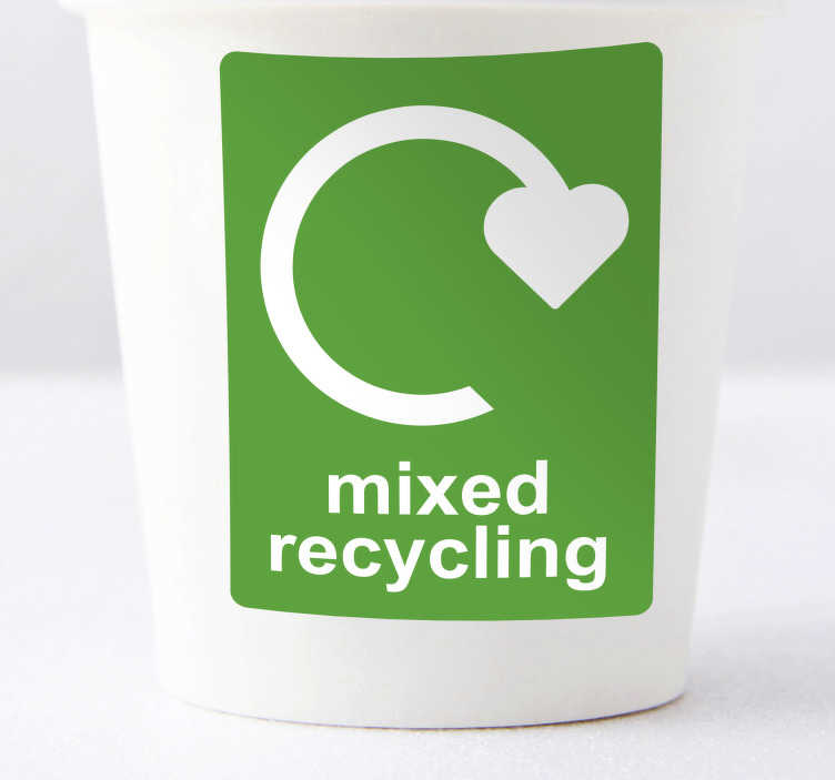 TenStickers. Mixed recycling Use sticker. Our Mixed Recycling Stickers are used as labels for recycling bins or as recycle posters as they are so easy to apply. Zero residue upon removal.
