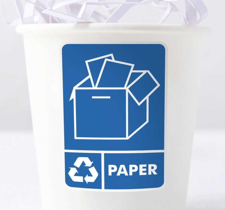 TenStickers. Recycle Paper Bin Sticker. Our Recycle Paper Stickers are perfect as environmental bin stickers or can be put up as a recycle paper poster to encourage others to dispose.