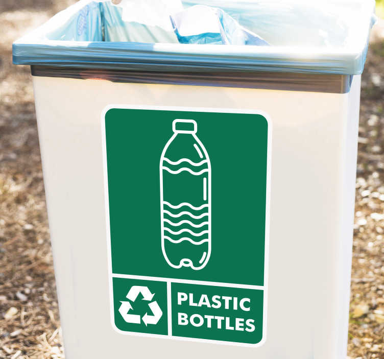 TenStickers. Recycling Plastic Bottles Sticker. The Recycling Plastic Bottles Sticker is a must for those who truly value recycling. It is included in our range of recycle bins stickers or recycle poster stickers.