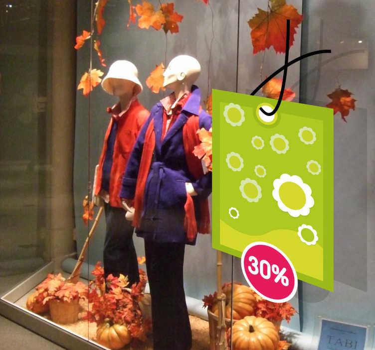TenStickers. Sticker personalizzabile etichetta fiori verde. Decora le vetrine del tuo negozio con questo adesivo e dai visibilità alle campagne promozionali, ai saldi, alle offerte speciali.