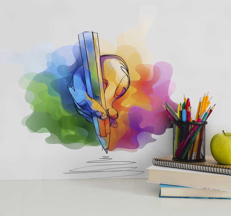 TenStickers. Kunst muursticker hand die tekent. Creëer een vrolijke sfeer in de tienerkamer met deze kunst sticker. Op de sticker is een hand die tekent, omringd door verschillende kleuren, te zien.