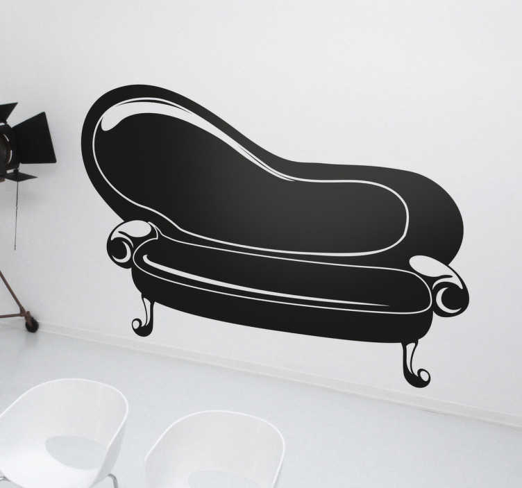 TenStickers. Sticker decorativo sofà vintage. Adesivo murale che raffigura un elegante divano d'altri tempi. Una decorazione ideale per gli appassionati di arredamento vintage.