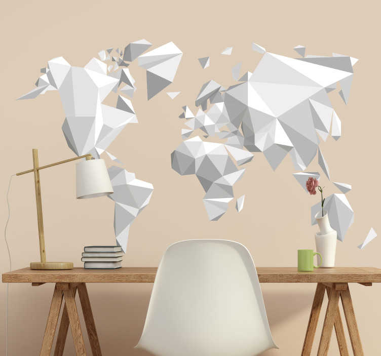 TenStickers. Sticker Carte du Monde Origami. Sticker planisphère représentant le monde avec un aspect de papier plié, au style origami. Un autocollant de qualitéqui apportera élégance et originalité à votre intérieur, où que vous le posiez. Un sticker facile d'application qui ne laissera ni bulles ni plis une fois posé.
