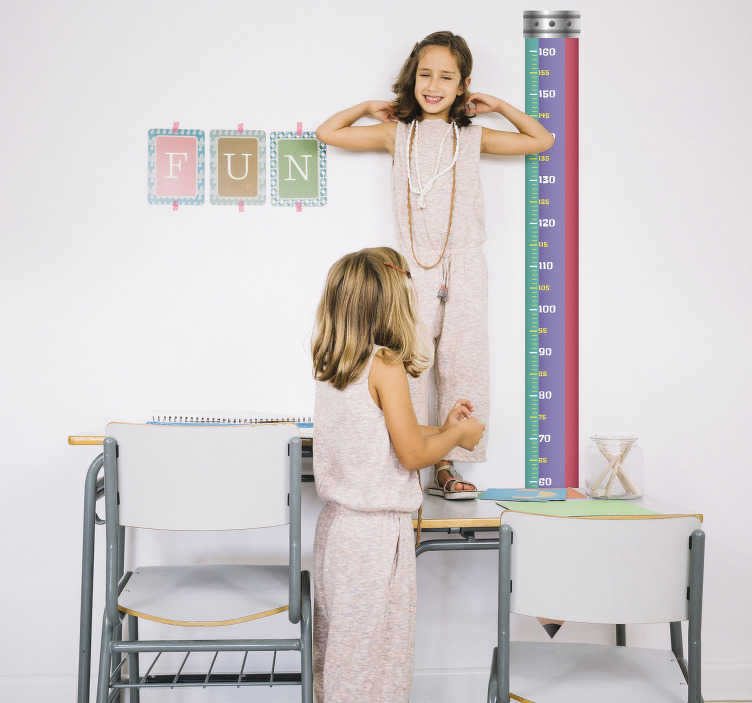 TenStickers. School Kid´s Height Chart Sticker. Children´s measurement wall sticker that includes a pencil design and measures in centimetres. It is a fun sticker for children as it keeps track of their growth.