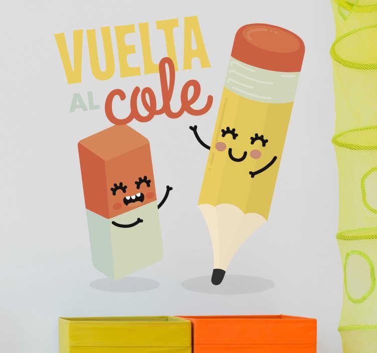 TenVinilo. Vinilo para escuela goma y lápiz. Vinilos adhesivos originales para promocionar la vuelta al cole este septiembre con el dibujo de una goma y un lápiz, amigos inseparables