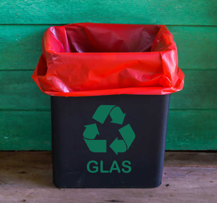 TenStickers. Glas Recycling Sign Icon Sticker. Save the planet! Start recycling glas today with this icon sticker showing the recycling symbol and the word Glas so everyone knows what belongs here.
