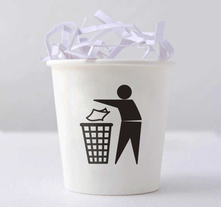 TenStickers. Sticker icône papier. Sticker pictogramme représentant une personne jetant un papier. Un sticker qui indiquera que la poubelle sur laquelle il est appliqué à pour but de récupérer le papier. Un autocollant pratique qui vous permettra de faire le tri sélectif de façon simple et intuitive.