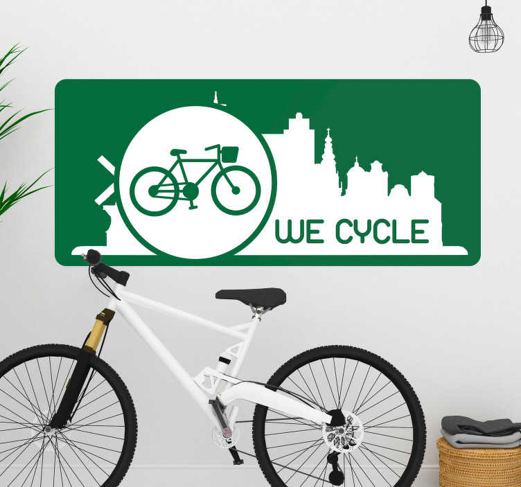 TenStickers. Wecycle cycling wall sticker. Decorative cycling wall decal with the design of bicycle on nice featured background. It is adhesive and easy to apply. We have it in any size.