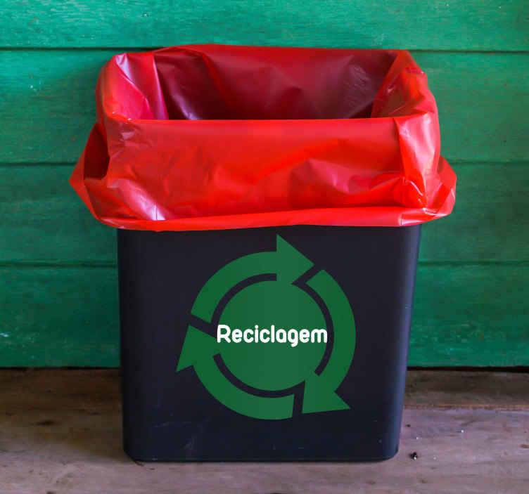 TenStickers. Autocolante decorativo reciclagem. Decore os teus objetos pessoais com este autocolante decorativo sobre a reciclagem, para teres sempre em mente o ambiente e preservá-lo.