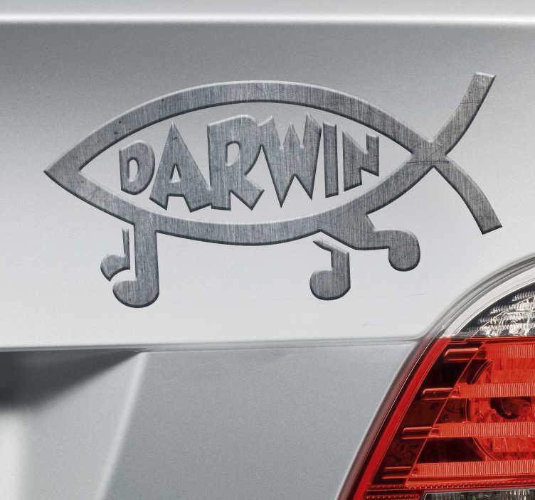TenStickers. Naklejka na ścianę Darwin, tekstura odtwarzająca metal. Adiustuje geeków dla miłośników nauki, a nie kreacjonistów, zwolenników teorii ewolucji, sformułowanych przez Karola Darwina Ryba ma nogi, aw centralnej części pojawia się w nazwisku tego brytyjskiego naukowca Naklejka odtwarzająca metaliczną teksturę