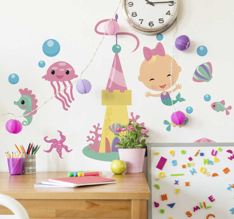 TenStickers. Vinil decorativo peixes infantis. Faça uma nova decoração no quarto das suas filhas com este vinil decorativo com imagens de vários peixes marinhos, com sereia e castelo debaixo de água.