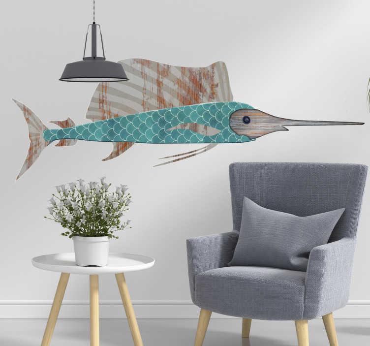 TenStickers. Sticker poisson Espadon. Sticker poisson représentant un espadon, avec différentes textures de bois et de carrelage le composant Un sticker original alliant différents motifs pour un résultat très moderne. Un autocollant marin qui apportera une petite touche de déco de bord de mer à votre intérieur.