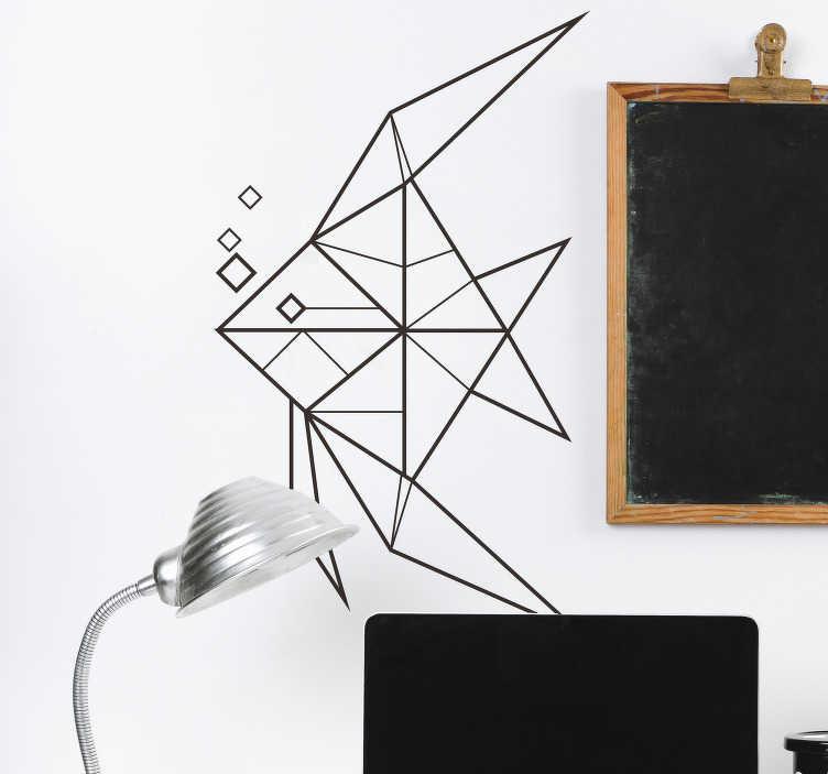 TenStickers. Autocolante parede peixe 3D. Decore as suas paredes com este autocolante parede com uma imagem de um peixe em 3D a preto e branco para dar outro toque à sua casa.