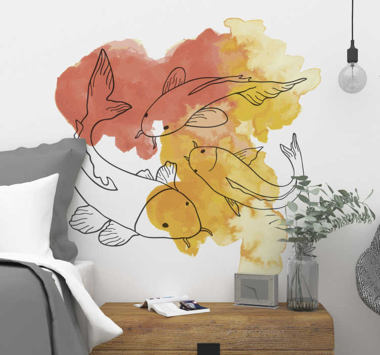 TenVinilo. Vinilo peces japoneses. Vinilos decorativos orientales con el dibujo de varios peces Koi dibujados en línea sobre una textura tipo acuarela de tonos cálidos.