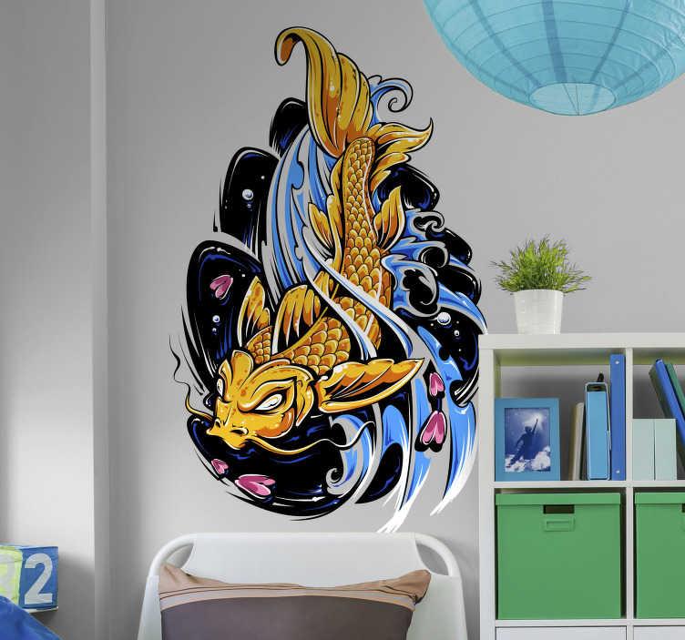 TenStickers. Sticker poisson Koi. Sticker poisson représentant une carpe Koï stylisé, tel que l'on peut parfois en voir sur les tatouages au style japonais. Un sticker coloré qui apportera beaucoup d'originalité à votre décoration, et qui plaira tout particulièrement aux plus jeunes, passionnés du Japon et de sa culture.