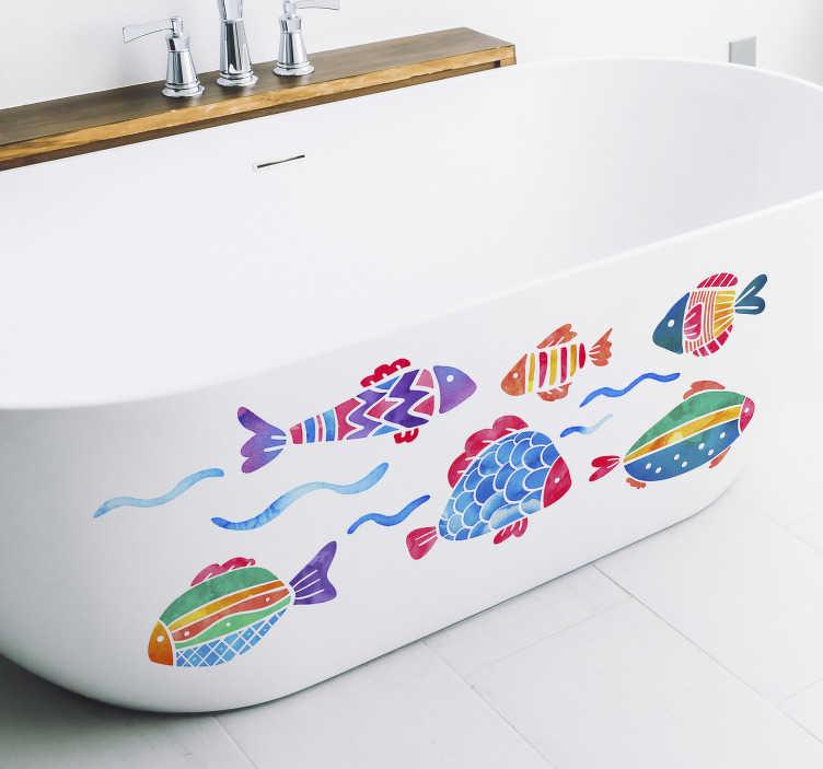 TenStickers. Kinderbad vissen sticker. Deze decoratie sticker met zes kleurrijke vissen is perfect voor de decoratie van de kinderkamer of de badkamer. Afmetingen naar eigen wens aan te passen.