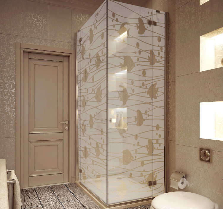 TenStickers. Naklejka na prysznic w rybki. Naklejka na prysznic, przedstawiająca rybki! Idealna ozdoba, żeby dodać Twojej łazience stylu i elegancji!