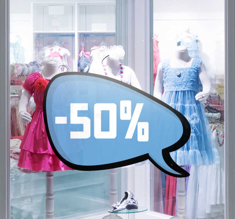TenStickers. Customisable Blue Bubble Promotion Sticker. Customisable Business Stickers - Use this shop front sticker to decorate the windows of your shop when you have your sales period by advertising promotions that would attract customers. Ideal for retail stores and businesses.