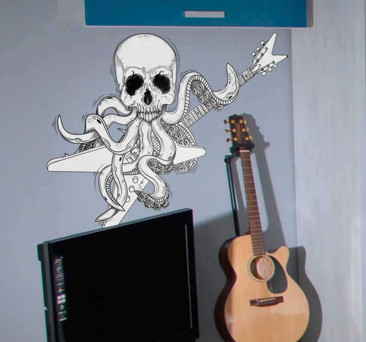 TenStickers. Guitar Octopus Rock and Roll Wall Sticker. Guitar Stickers and Rock Stickers - This original design shows an octopus with a skull face playing on the electric guitar. The skull sticker is a must for real rock and heavy metal fans.