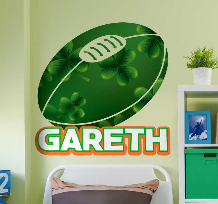 TenStickers. Ireland Rugby Wall Sticker. An Irish Rugby wall sticker that can be personalised with any name you want. The personalised name sticker is for your kids bedroom  to show their support for the IRFU.