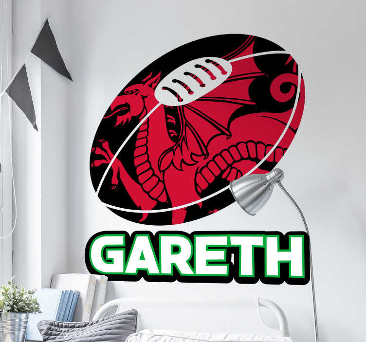 TenStickers. Personalised Wales Rugby Sticker. Rugby Wall Stickers - This personalised name wall sticker is perfect for your child´s bedroom if they support the Wales National Rugby Union Team.