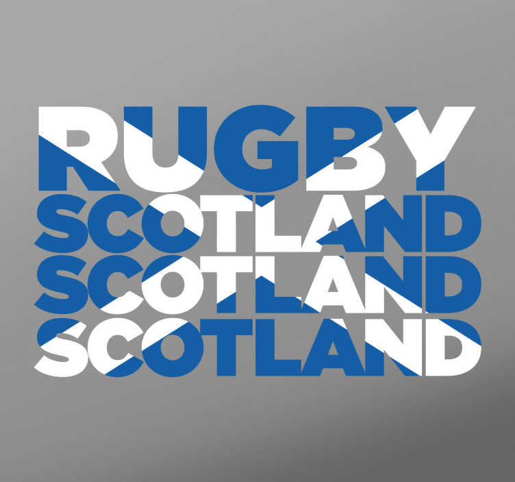 TenStickers. Scotland Rugby Wall Sticker. Rugby wall stickers- Show your support for the Scottish Ruby squad with this Scotland Rugby Sticker which resembles a Scotland flag. The Scotland flag sticker is a great children´s bedroom sticker to encourage their love for the sport and their national team.