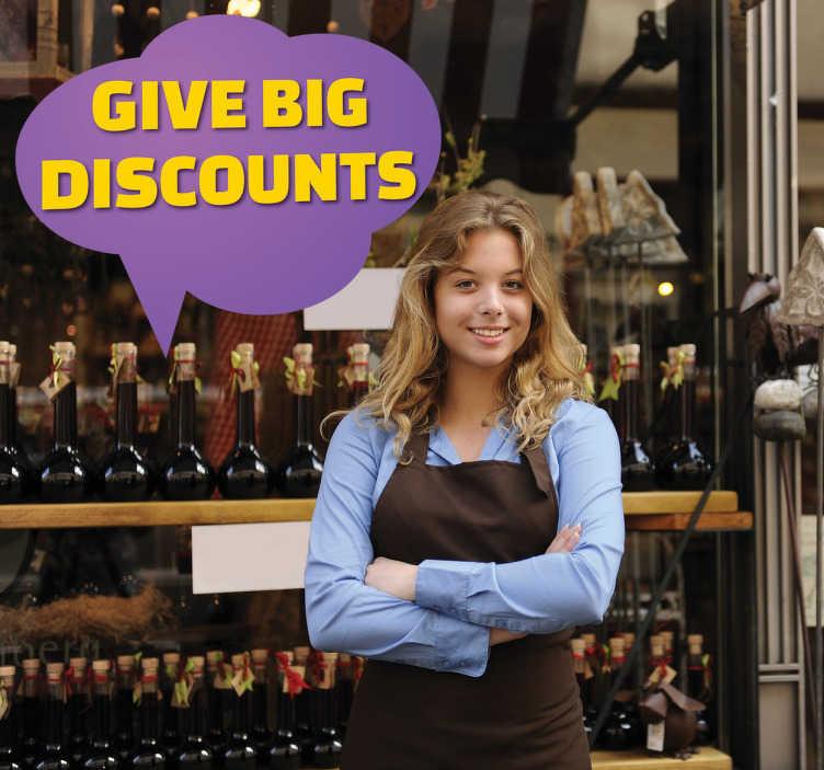 TenStickers. Sticker offre personnalisable vitrine. Décorez votre vitrine et annoncez vos offres grâce à ce sticker violet.