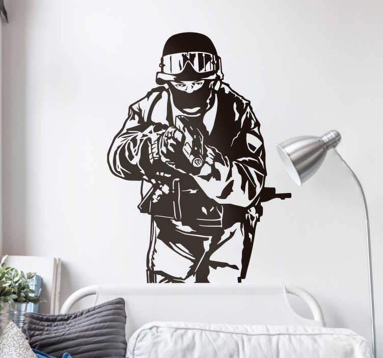 TenStickers. SWAT Team Decorative Wall Sticker. Swat Team Wall Sticker - Illustrative wall art sticker that shows a member of a SWAT team member holding a gun and ready to put it all on the line.