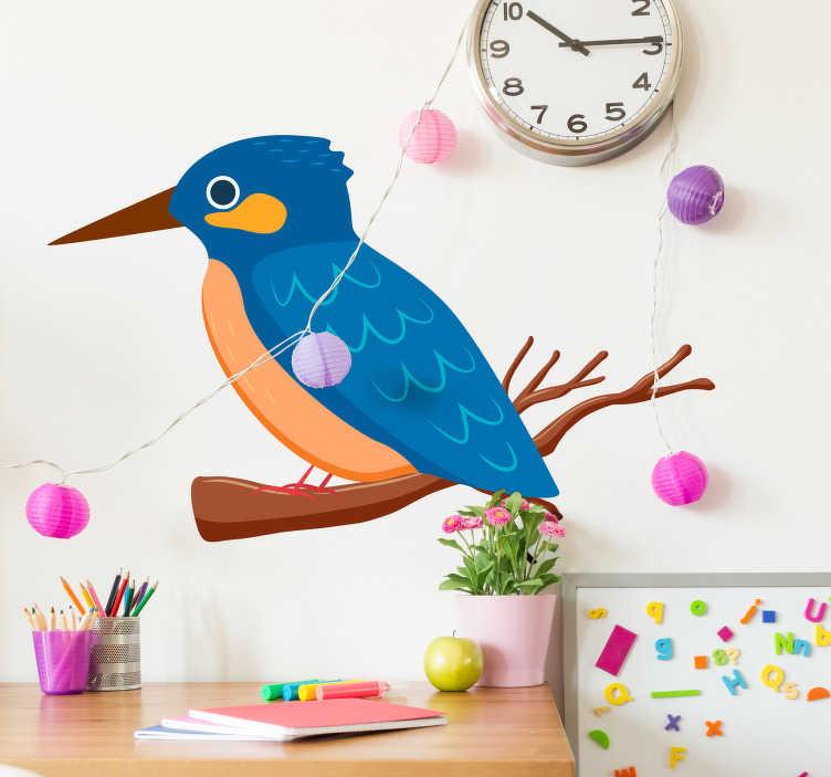 TenStickers. Naklejka na ścianę niebieski dzięcioł. Naklejka na ścianę, przedstawiająca niebiesko-pomarańczowego dzięcioła. Idealna naklejka, która ożywi pokój!