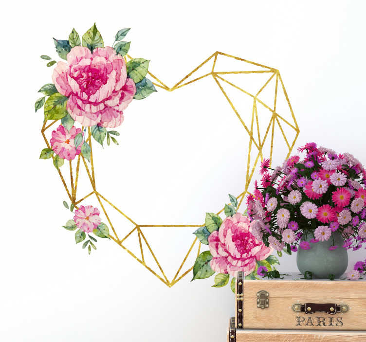 TenStickers. Geometrical Shaped Heart Living Room Wall Decor. This geometric wall sticker shaped as a heart with pink flowers is a must-have if you want to change your house and add to it some romantic accents!