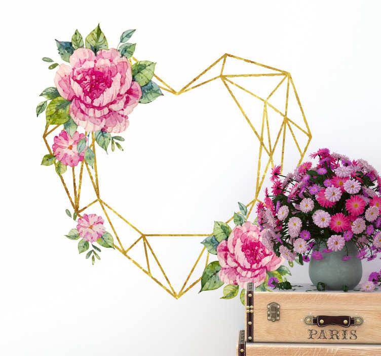 TenStickers. Sticker coeur 3D fleurs. Sticker géométrique représentant un coeur doré sous forme de lignes, avec à différents endroit des roses s'y accrochant. Un sticker floral qui viendra habiller les murs de votre salon ou de votre chambre, pour une touche moderne et romantique!