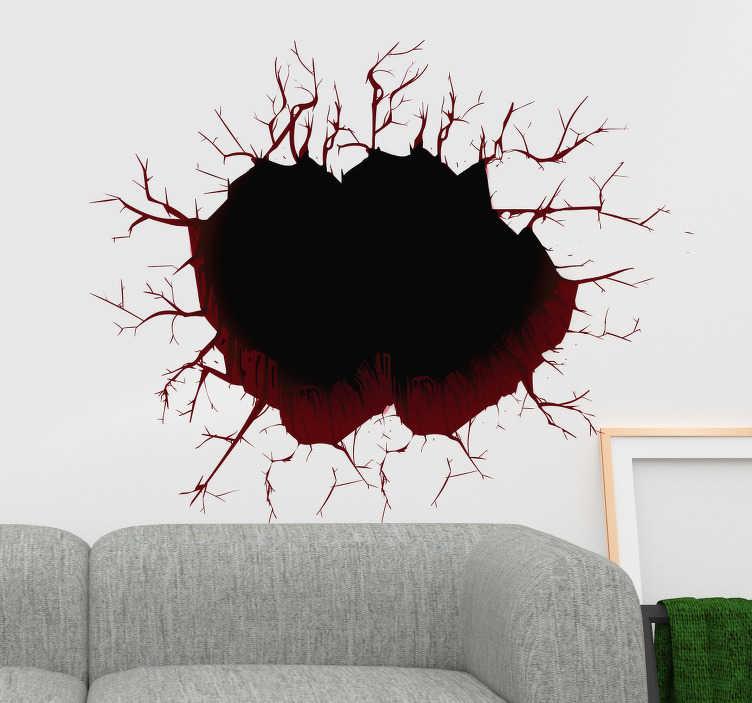 TenVinilo. Vinilo 3d pared rota. Vinilos decorativos trampantojo con el que engañarás a la vista creando la ilusión de que en tus muros hay un gran agujero.