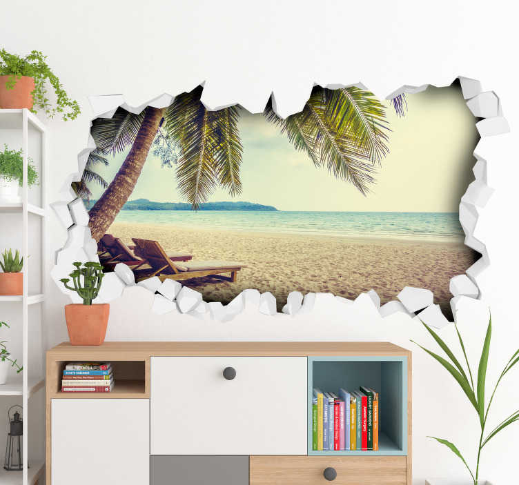 TenStickers. Strand sticker 3D. Breng het vakantiegevoel in huis met deze 3D strand sticker, inclusief wit zand, blauwe zee en een palmboom. Pas de afmetingen geheel naar eigen wens aan.