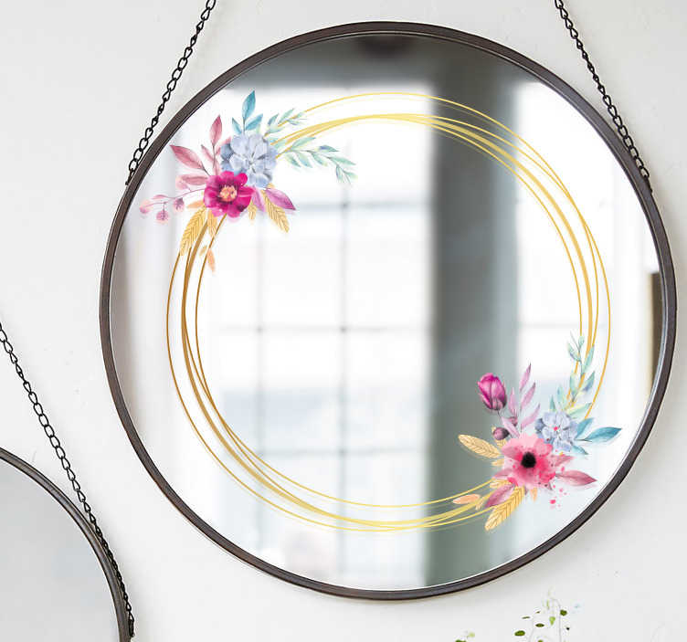 TenStickers. Sticker miroir marque florale. Sticker fleur tout spécialement créé pour vos miroirs. Un sticker pour miroir qui apportera un supplément d'âme et de raffinement à vos miroirs! Avec ses fils d'or et ses fleurs délicates, vous pourrez transformer l'atmosphère de votre pièce !