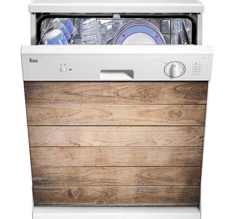 TenStickers. Autocolante madeira para máquina de lavar louça. Dá um efeito de madeira à maquina de lavar louça graças a este vinil decorativo efeito madeira, para poder decorar com inteligência a sua casa.