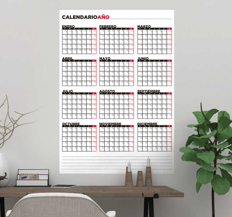 TenVinilo. Vinilo pizarra vileda calendario. Vinilo de pizarra tipo vileda con el que podrás personalizar año tras año un calendario de forma manual.