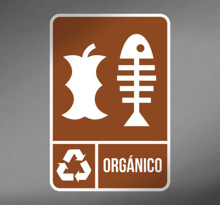 TenVinilo. Adhesivos reciclaje orgánico. Stickers reciclaje para señalizar qué cubo de basura de tu casa o negocio está pensado para desechar comida y restos orgánicos.