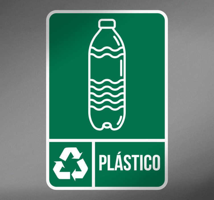TenVinilo. Adhesivos reciclaje plástico. Pegatinas señalización para indicar qué contenedor de basura de tu casa o negocio está destinado a envases de plástico.