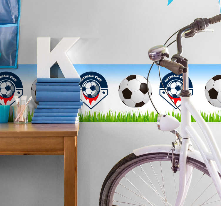 TenStickers. Wall Border Customisable Football Sticker. Display your love for football with this fantastic wall border sticker! Easy to apply.