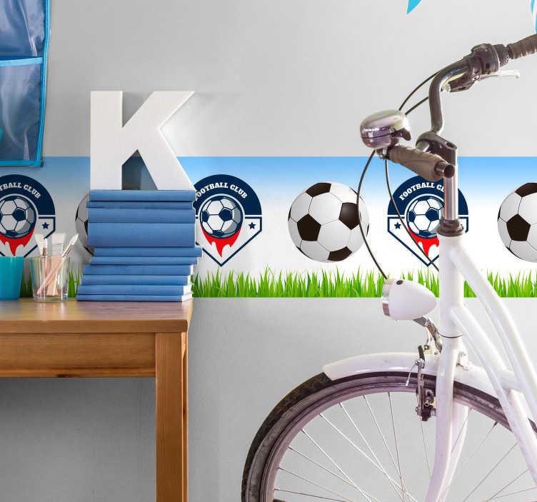 TenStickers. Frise adhésive équipe de football personnalisable. Sticker football dont vous pourrez choisir le club qui figurera sur la frise, ainsi que ses dimensions. Application Facile.