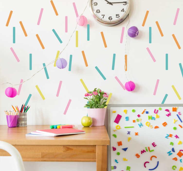 TenVinilo. Pegatinas de colores confeti. Adhesivos para decoración festivos y coloridos con los que podrás personalizar de forma barata y efectiva las paredes de cualquier estancia de tu casa, especialmente pensado para el cuarto de los más jóvenes de casaLas medidas indicadas en la ficha son sobre el conjunto de líneas multicolor