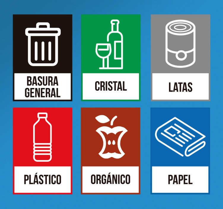 TenVinilo. Pegatinas para contenedores reciclar. Lámina de adhesivos de reciclaje con iconos correspondientes a basura general, cristal, latas, plástico, deshechos orgánicos y papel.