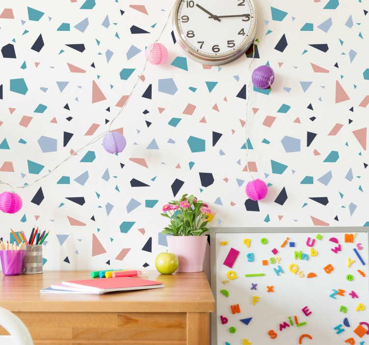 TenStickers. Sticker motif Terrazo. Sticker mural au motif terrazo Un sticker abstrait aux motifs irréguliers et colorés, pour apporter beaucoup d'originalité à vos murs. Un motif aux formes irrégulières, dans les tons bleus, roses, et noires.