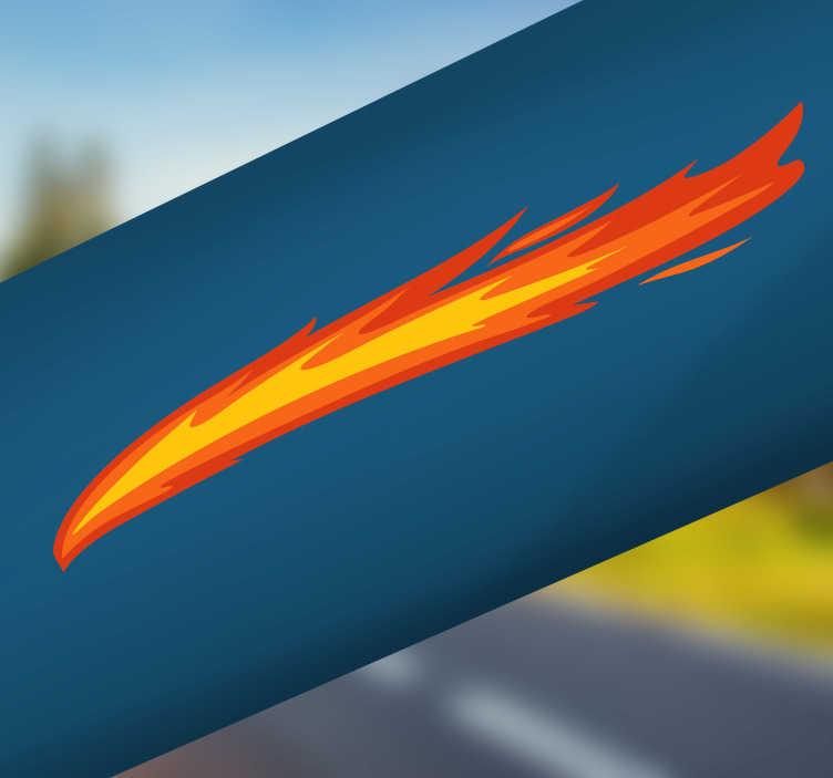 TenStickers. Fahrradaufkleber Flamme. Dieser Flammen Sticker ist ein heißes Motiv!  Er kann sehr einfach an jeden Gegenstand oder ein Fahrzeug angebracht werden. Produktion an einem Tag