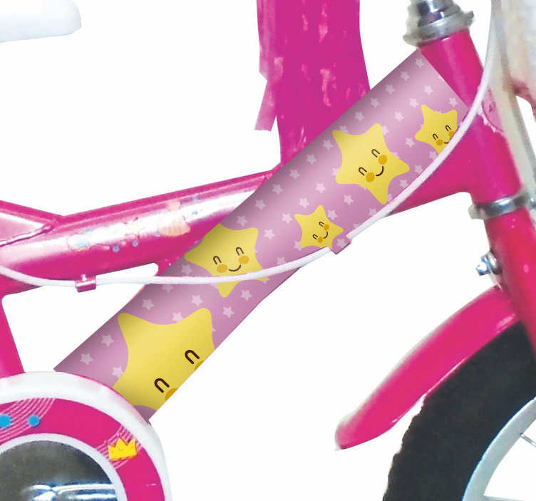 TenStickers. Zvezdna kolesa nalepka za kolesa. Okrasna nalepka za okvir kolesa s pisanimi zvezdicami in smešno zasnovo obraza. Na voljo je v poljubni velikosti. Enostaven za nanašanje in lepilo